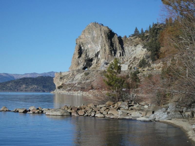 winter day in Tahoe looking at Cave Rock formation - Zephyr Cove in the Cave Rock area Lake Front cabin - Glenbrook - rentals