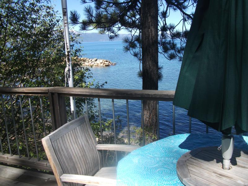 Deck practically ovder the water - Zephyr Cove in the Cave Rock area Lake Front cabin - Glenbrook - rentals