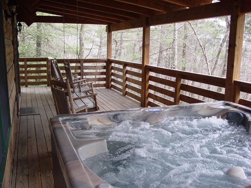 Brand New 6 Person Hot Tub Located on Covered Porch with Swing & Rocking Chairs - Secluded Creek /WiFi/Hot Tub/Fishing/FP/Boone-15 min/Spring Discount/Free Nights - Boone - rentals