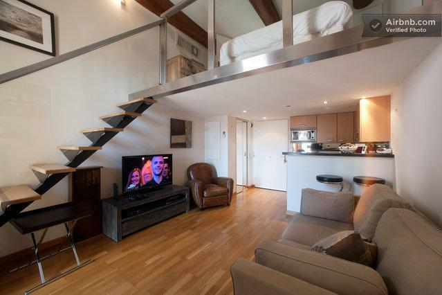 The bedroom within the mezzanine as a real nest under the roof! - NICE Central So Romantic apt @t MASSENA Best Spot! - Nice - rentals