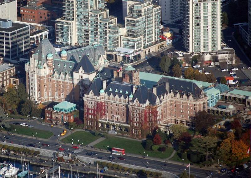 The Falls in the background of Fairmont Empress Hotel - thefallsvictoria[at]live[dot]com - Centrally located- Empress Hotel inner harbor area - Victoria - rentals