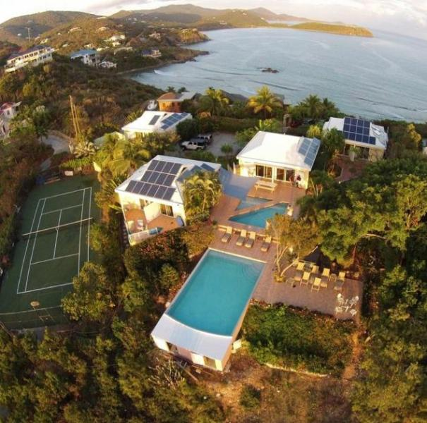 view from our Webmaster's drone showing the new infinity swimming pool - Great Expectations, rated the #1 villa on St. John - Saint John - rentals
