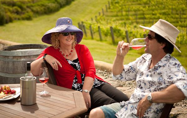 Adele and Roger relaxing at winery; 20 min cycle away. - Corru Gate + Copper Gate: farm, sea, art cottages - Mapua - rentals
