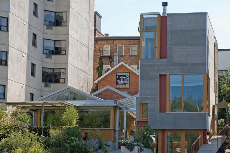 Front of Rundles Restaurant (left), and Rundles Morris House (tower).  Architecture: Shim-Sutcliffe. - Modernist gem in downtown Stratford, Ontario. - Stratford - rentals