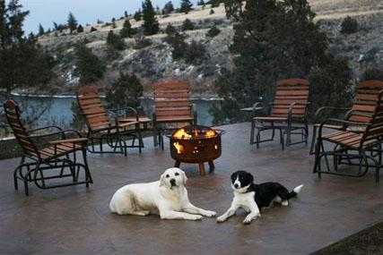 Comfortable outdoor patio with lounge chairs, picnic table (not pictured), and fire pit - Paradise Valley Vacation - Emigrant - rentals