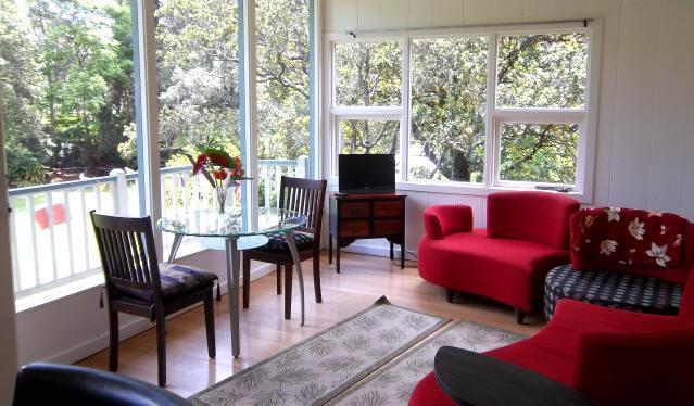 Volcano Garden Retreat Living Room with Designer Couch - Rainforest Chalet on 1.6 acres - Amazing! - Volcano - rentals