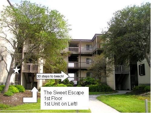Simply go up these 6 steps, turn left, and it's the first door on the left...to the right is beach! - The Sweet Escape One Bedroom Beach Front Condo - North Topsail Beach - rentals