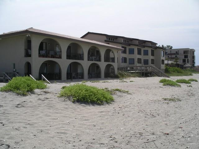 View of El Galeon Complex from the beach (this unit is behind by the pool) - Manasota Key - ElGaleon Gulf 3 BR Beachside Condo! - Englewood - rentals