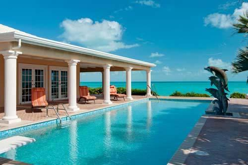 42 foot pool overlooking the beach and ocean - Three Dolphins Beachfront Tennis Villa 4-12 bedrooms,24/7 dedicated concierge - Long Bay Beach - rentals