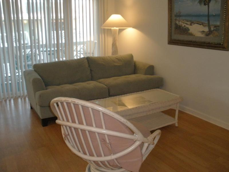 Living Room with comfortable sleeper sofa.  Open floor plan with Living Room, Dining Rm & Kitchen - 1 Bedroom,1 Bath Condo, Overlooking the Beach - Tybee Island - rentals
