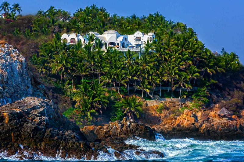 Palace By The Sea viewed from sunset cruise - #1 IN GUEST SATISFACTION. 5*Villa w/Chef, Staff - Manzanillo - rentals