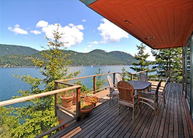 BBQ and dine on the deck and watch the boats come and go from Rosario Marina. - Seaside on Orcas, Private, Gorgeous Waterfront & Hot Tub! - Eastsound - rentals