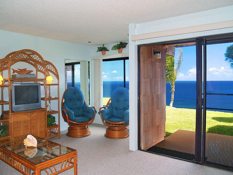 Ocean views from living room windows - Sealodge D-4  Ocean Front Condo in Kauai - Princeville - rentals