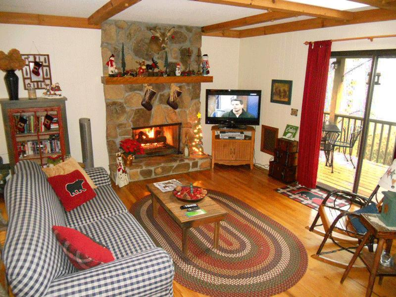 Family Room with Stone Fireplace, LCD Flat Screen TV, Cable, Books, Videos, DVD's & Games. - Lakeview Cottage - Great View of Lake Sequoyah - Highlands - rentals