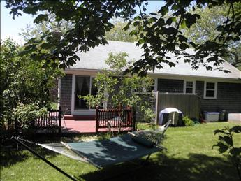 Back Yard view, deck, grill, outdoor dining and hammock for your relaxing vacation - Yarmouth Vacation Rental (100474) - Yarmouth Port - rentals