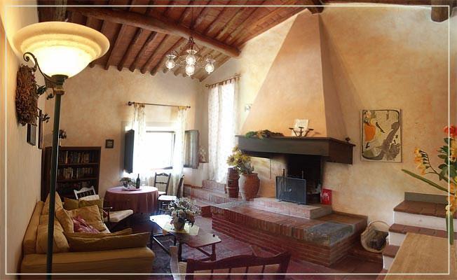 livingroom with open fireplace - 1BR Loft apartment La Bellavista - Chianti - Castellina In Chianti - rentals