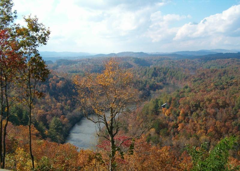 Fall splendor! View from the deck. - HIBERNATION RIDGE - Hayesville - rentals