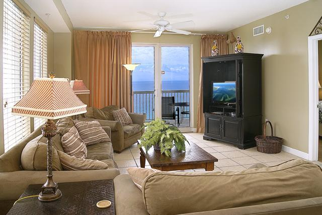 Exquisitely decorated living room looks on to gulf with wall to wall windows - Beach Front  Corner Unit! Amazing Views Sleeps 10 - Panama City Beach - rentals