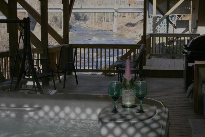 Private 6 Person HOT TUB on 16x40\' Deck Looking 1/4 Mile Up River Dec has 3 Ceiling Fans - 1Br HOT TUB 10ft above River FIRE PLACE 16x40 DECK - Bat Cave - rentals