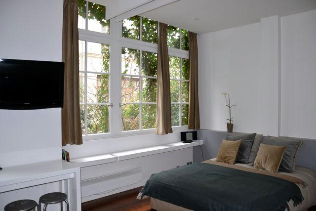 Queen size bed with matching tables and lamps; great natural lighting to terrace - **Inquire for $70 OFF -Amelot Terrace Ground Floor - Paris - rentals