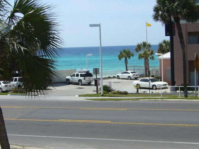 Gulf View from Living Area - 1 Bedroom Ocean View Condo with Pool - Panama City Beach - rentals