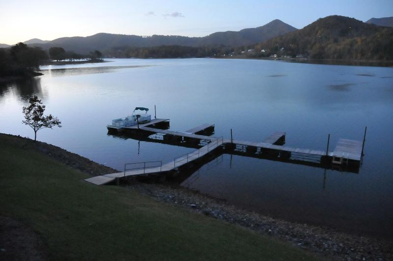 A view from the deck of our large dock...waiting for your boat! - AMAZING VIEWS FROM THIS LOVELY LAKEFRONT RENTAL! - Hiawassee - rentals