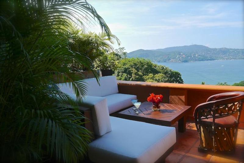 Dreamy view of the Bay from our lounge on the north terrace. - Spectacular Views of the Bay & Mts, w/Luxury Style - Zihuatanejo - rentals