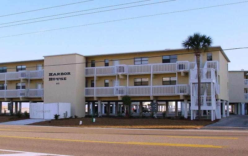 Harbor House from Beach Blvd. - HARBOR HOUSE #10 - LOW RISE CONDO 2BR/1BA Sleeps 6 - Gulf Shores - rentals