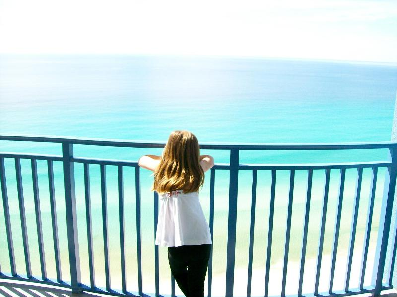 Balcony view from bedroom - Sterling Breeze-beachfront, FREE Chair Service - Panama City Beach - rentals