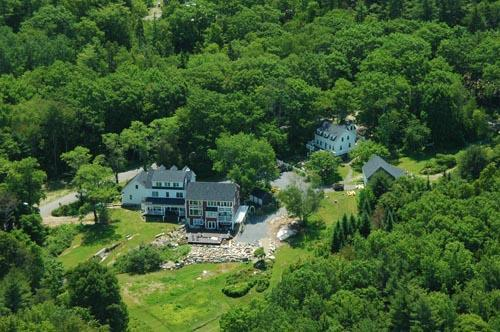 An aerial view of the estate including both buildings: Farmhouse and Cape - Bold Colorful Life Farmhouse and Cape - Boothbay - rentals