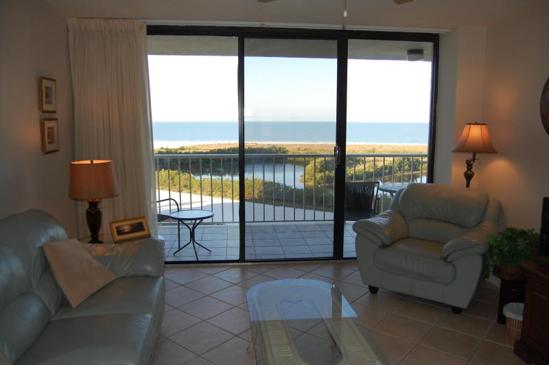 Living room with Gulf of Mexico views - On Beach$785wkTotal June-Nov.Seasonal Rates HIGHER - Marco Island - rentals