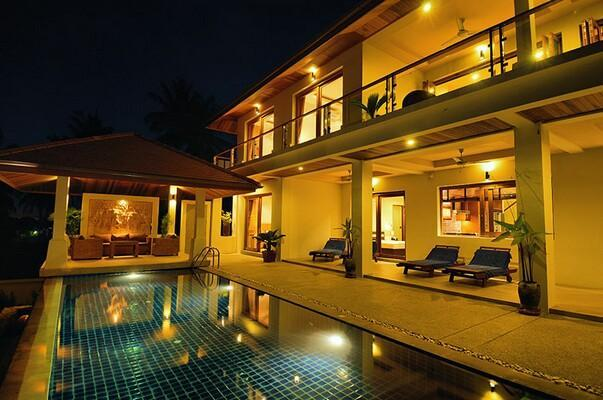 Pool side at night - Peerapat Villa, 4-Bed Seaview in NE 1km to Beach - Bophut - rentals