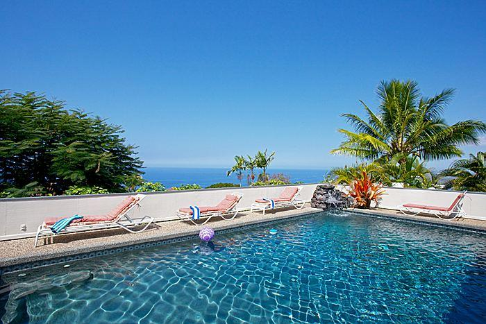 Cyrstal blue pool with ocean view - A Perfect 10 *** Ocean View Pool Waterfall Hot Tub - Kailua-Kona - rentals