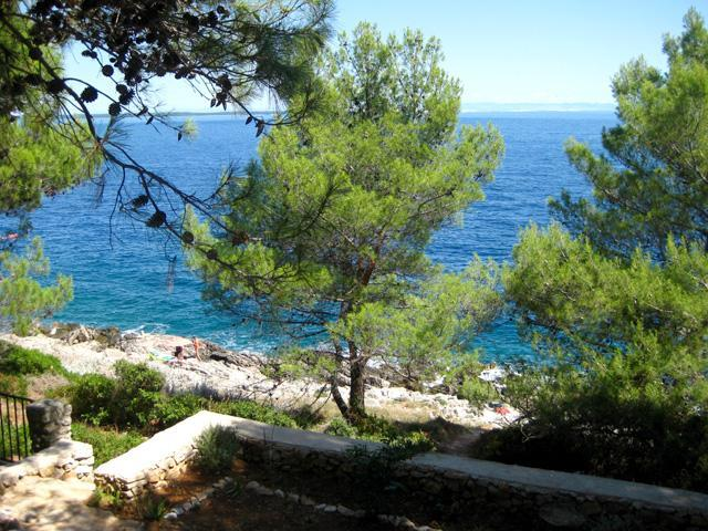 View from the balcony towards the beach (only a few steps away) - Seafront studio apt, Valdarke, Mali Losinj - Mali Losinj - rentals