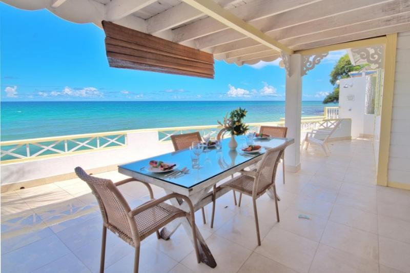 Dining al fresco on the terrace - Romantic 2bed beach house, uninterrupted sea views - Saint Peter - rentals