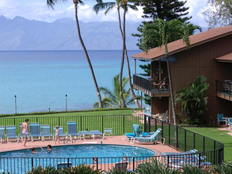 Lanai view with Molokai in distance - AFFORDABLE MAUI OCEANFRONT 2BED, 2 BATH-GREAT REVIEWS - Lahaina - rentals