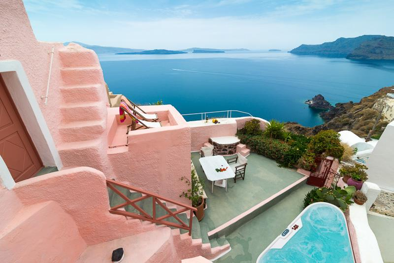 PINK Cave, 3 terraces outdoor jacuzzi Caldera View - Image 1 - Oia - rentals