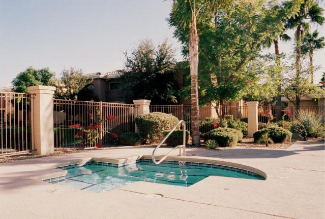 Winter photo of shared hot tub and flowers - Escape to Desert Breeze at our 3-BR Condo in AZ! - Phoenix - rentals