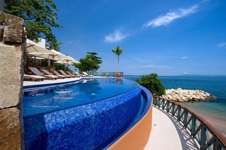 The first of two heated pools set right on the beach with plenty of lounge space - P.V. Most Sophisticated Ocean Front Dev.3200sq.ft. - Puerto Vallarta - rentals