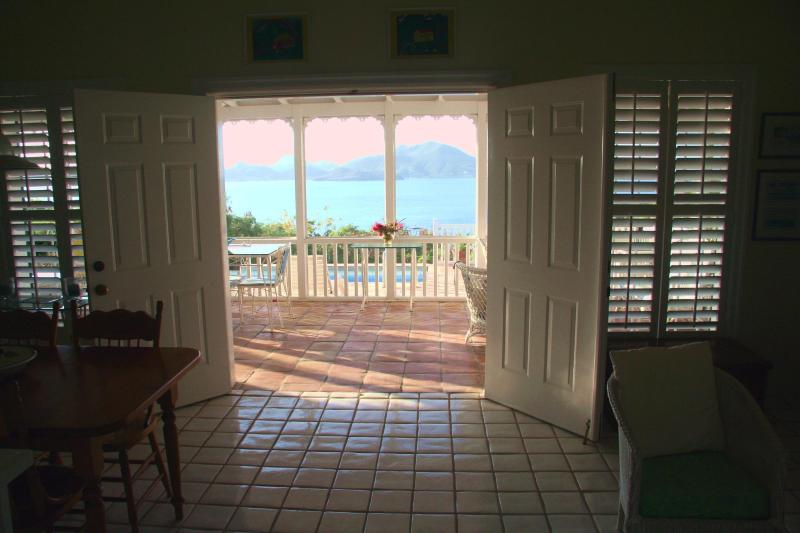 Villa View through the screened in porch across the narrows to St Kitt's - Round Hill Villa & Cottage Ridge Road Jones Estate - Nevis - rentals