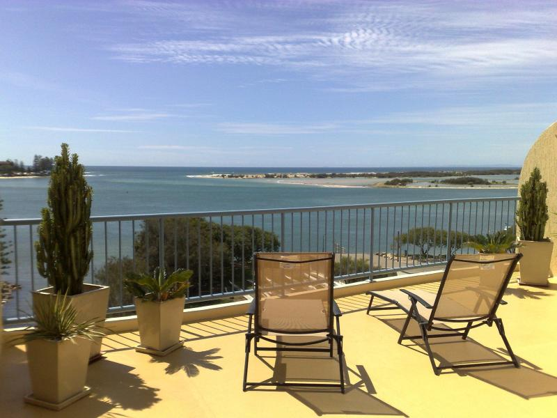 View of Bribie Island from private rooftop - Apartments in Sails Resort on Golden Beach - Golden Beach - rentals