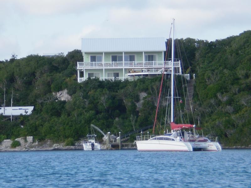 Cliff House seen from Sea of Abaco.  Boats are not there when you rent from us. - Cliff House, Bahamas: Exceptional View! - Hope Town - rentals