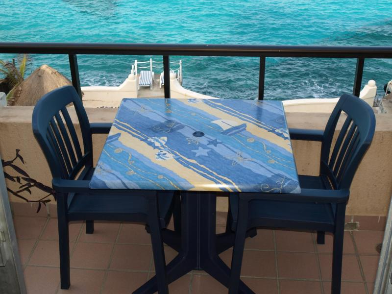 Enjoy breakfast here on your private terrace. - BEACHFRONT FOR TWO ALL AMENITIES AT HALF THE PRICE - Cozumel - rentals