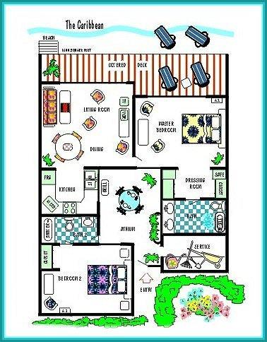 2 BR Floor Plan - BEACHSIDE VILLAS...secluded Beachfront hideaway... perfect get-away! - Saint Martin-Sint Maarten - rentals