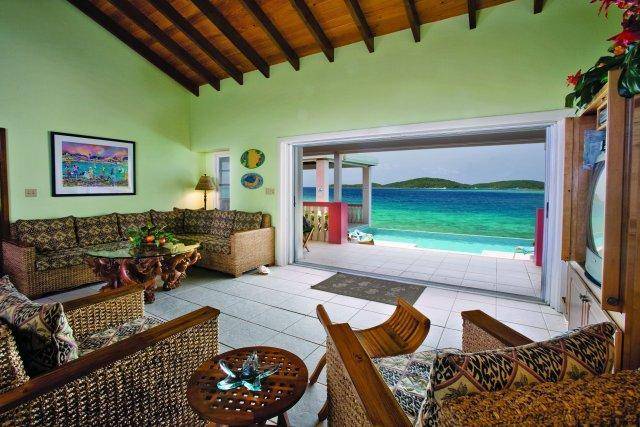 Great Room with Pocket Doors open - Villa Sea Star, on the beach! 3 white sand beaches - East End - rentals
