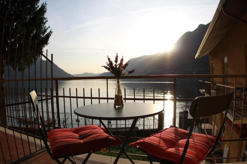 Master Bedroom balcony views of the lake - PRIVATE BEACH - SWIMMING - BBQ -  Villa Paradiso - Pognana Lario - rentals