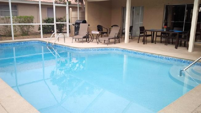 Southern expousre on this heated pool for