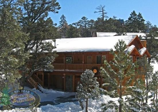 Sun Terrace - Front of the cabin WINTER - Sun Terrace Cabin a Big Bear Vacation Cabin with season stream of the back porch and close to all activities. - Big Bear Lake - rentals