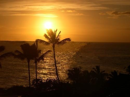Poipu Sunset from the upper deck - Kapakai Home~ 3 Bdr. home,  Poipu coastline view - Poipu - rentals