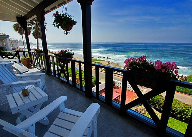 Relax and watch the waves on the deck. - Stay on the sand at Windansea Beach - spectacular panoramic ocean views - La Jolla - rentals